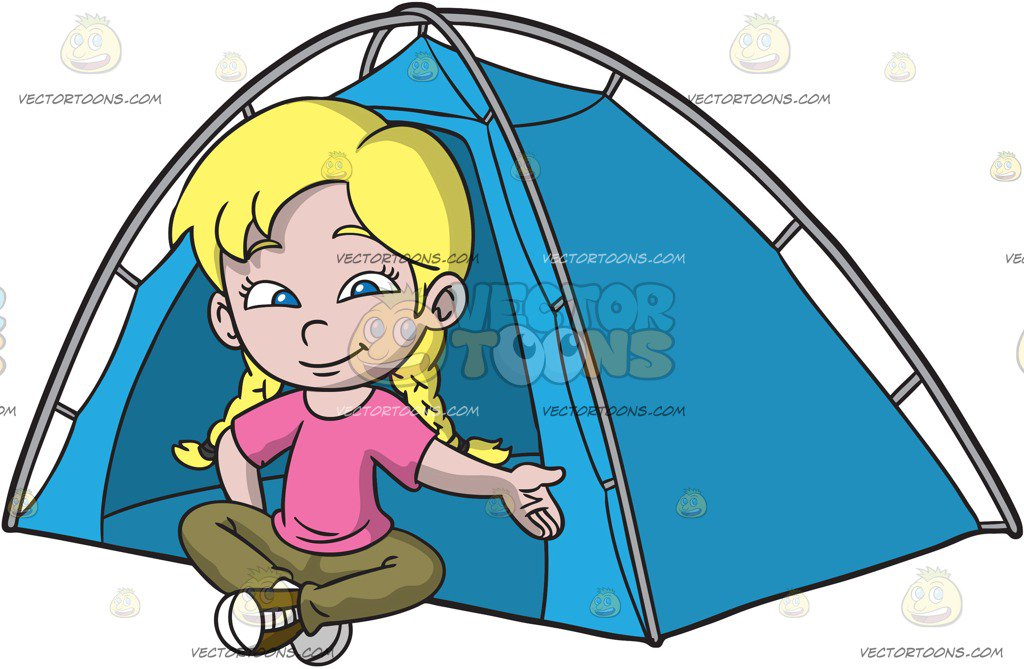 1024x669 A Girl Sitting Outside Her Camping Tent Cartoon Clipart Vector Toons