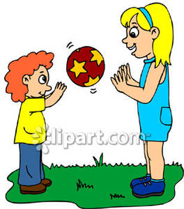 264x300 Two Children, A Boy And A Girl, Tossing A Ball Outside Royalty
