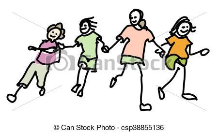 450x273 Colored Doodle Kids Running Together, Vector Sketched Vectors