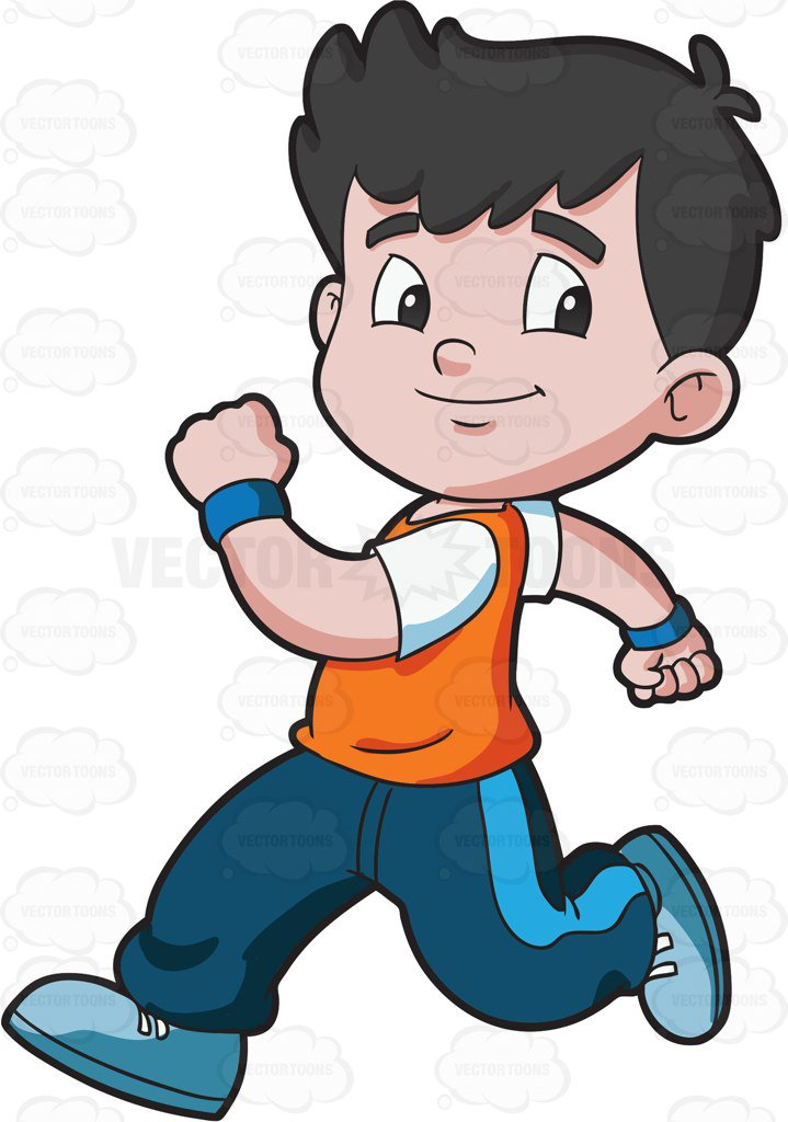 719x1024 A Boy Running Confidently Cartoon Clipart Vector Toons