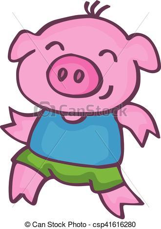 330x470 Running Pig Cartoon Design Kids Vetcor Illustration Vector