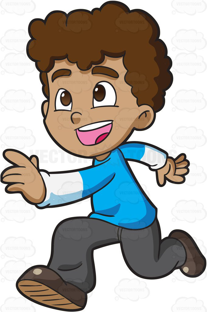 681x1024 A Boy Running Excitedly Towards His Playmates Cartoon Clipart