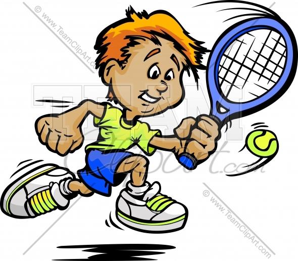 590x516 Tennis Kid Cartoon Clipart Image.