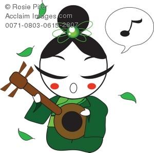 300x299 Clip Art Illustration Of A Japanese Geisha Girl Playing A Shamisen