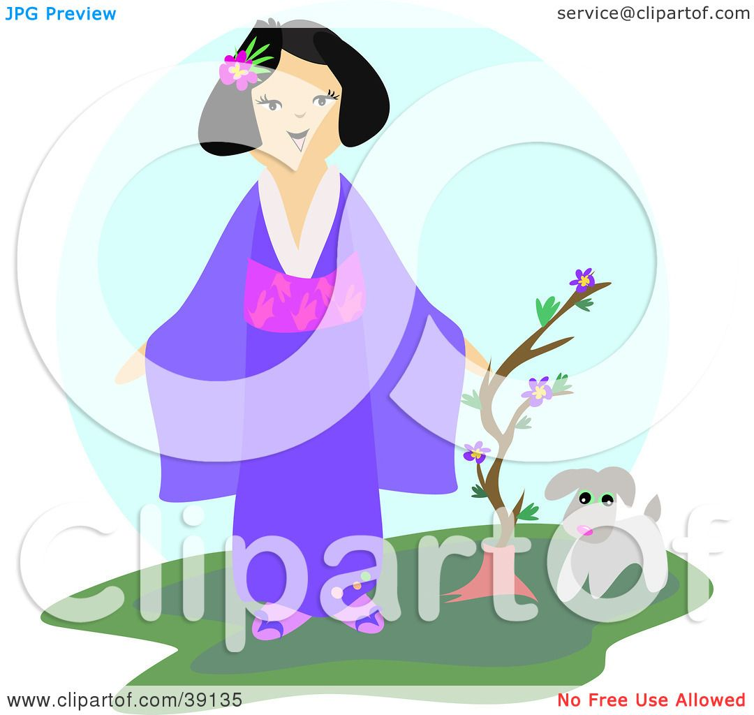1080x1024 Clipart Illustration Of A Friendly Japanese Lady In A Kimono