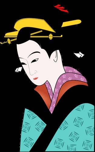 313x500 Japanese Woman In Blue Kimono Vector Image Public Domain Vectors