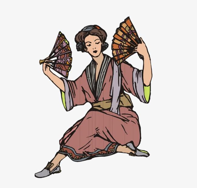 650x621 A Japanese Kimono Woman With A Fan In Her Dance, Kimono, Dance