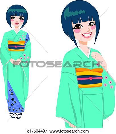 408x470 Kimono Clipart Japanese Person