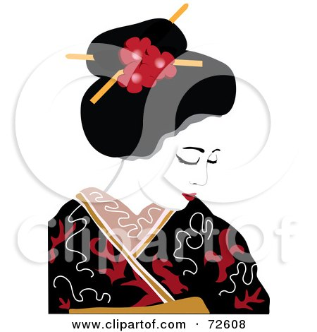 450x470 Royalty Free (Rf) Clipart Illustration Of A Beautiful Geisha Woman