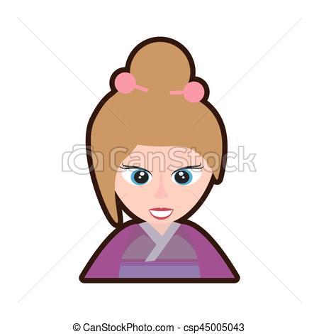 450x470 Cartoon Cute Girl Chinese Kimono Sakura Flower Vector Eps