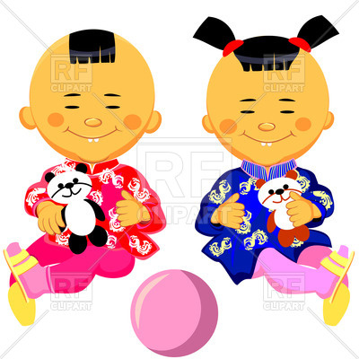 400x400 Chinese Baby Boy And Girl In National Costume (Kimono) With Panda