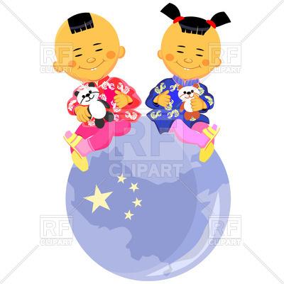 400x400 Chinese Children Sit On Globe