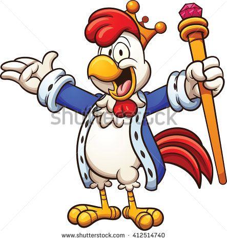 443x470 Cartoon Chicken King. Vector Clip Art Illustration With Simple