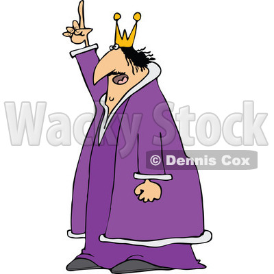 400x400 Clipart Of Chubby Scraggly King In Purple Robe, Holding Up