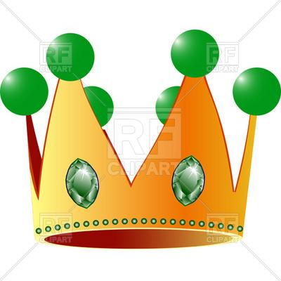 400x400 Cartoon King Crown With Precious Stone Royalty Free Vector Clip