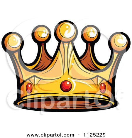 450x470 Cartoon Of A Golden King Crown With Ruby Gems