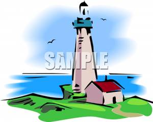 300x239 A Lighthouse On A Grassy Hill Clipart Image