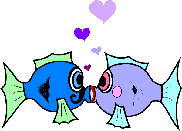 600x432 Kissing Fish Clip Art