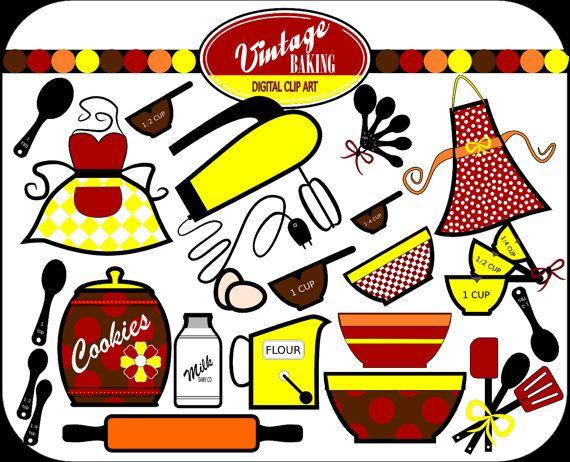 570x462 Vintage Baking Digital Clip Art, Instant Download, Colors Red
