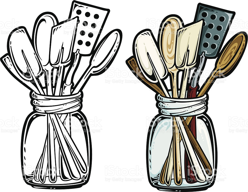 Kitchen Black And White Clip Art
