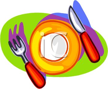 350x287 Picture Of A Plate With A Fork And A Knife In A Vector Clip Art