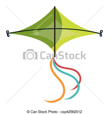 450x470 Colorful Green Kite Flying. Colorful Kite Flying Over White