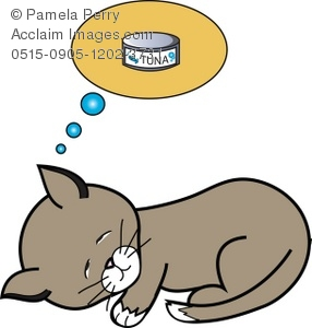 286x300 Clip Art Illustration Of A Kitten Dreaming Of A Can Of Tuna