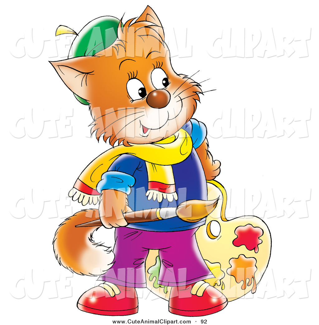 1024x1044 Clip Art Of A Cheerful Orange Cat Artist Holding A Paintbrush