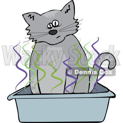 400x400 Clipart Cat Using A Stinky Kitty Litter Box