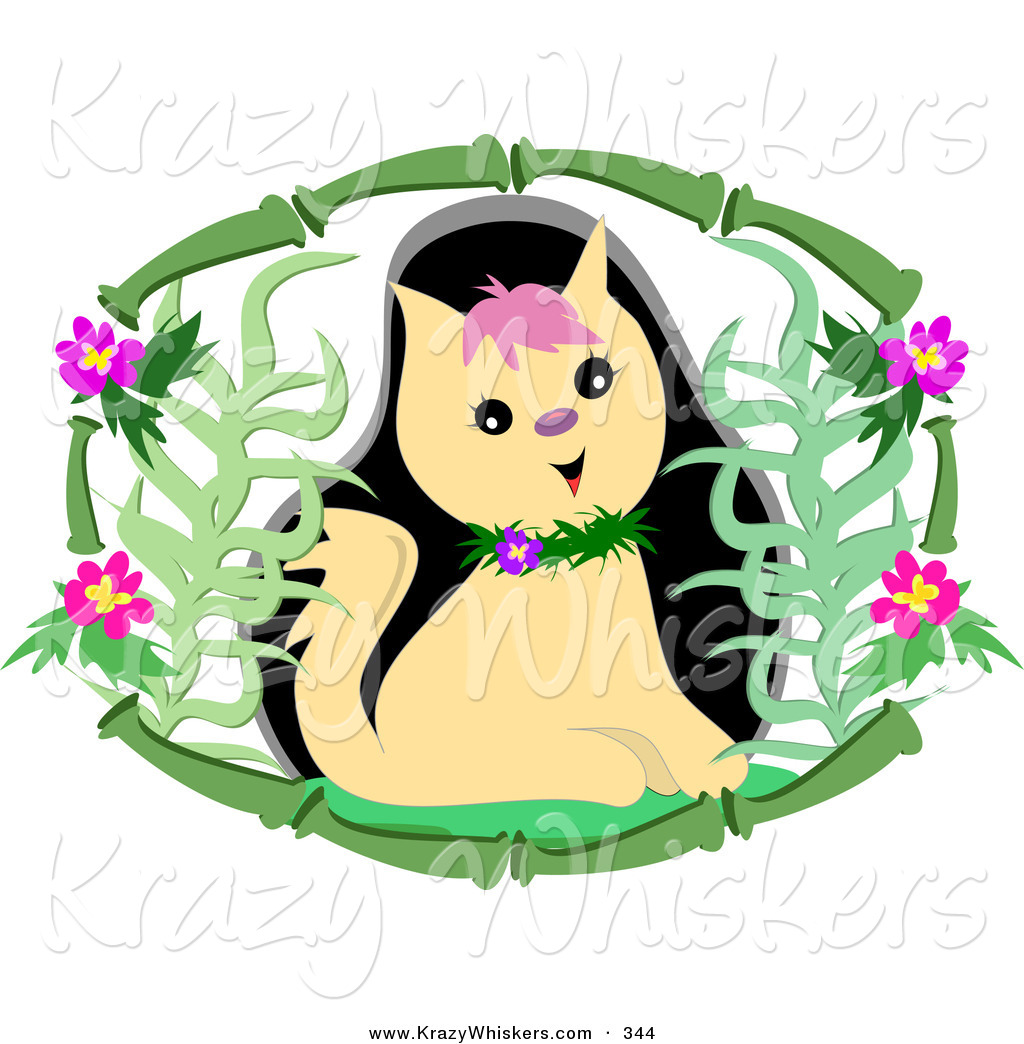 1024x1044 Critter Clipart Of A Cute Tan Kitty Cat Wearing A Floral Collar