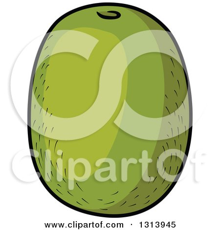 450x470 Clipart Of A Cartoon Shiny Kiwi Fruit