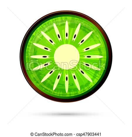 450x470 Kiwi Icon Isolated On White. Vector Illustration. Green Kiwi