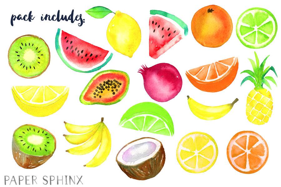 900x599 Watercolor Tropical Fruit Clipart Fruit Clip Art