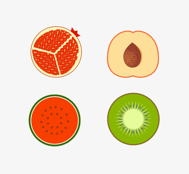 650x598 Cartoon Fruit Cutout, Watermelon, Kiwi, Pomegranate Png Image