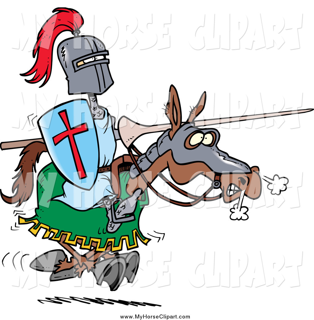 1024x1044 Clip Art Of A Cartoon Jousting Knight On Horseback By Toonaday