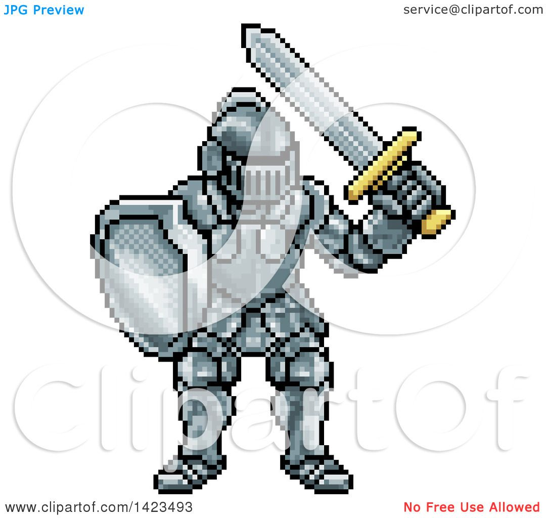 1080x1024 Clipart Of A Retro 8 Bit Pixel Art Video Game Styled Knight