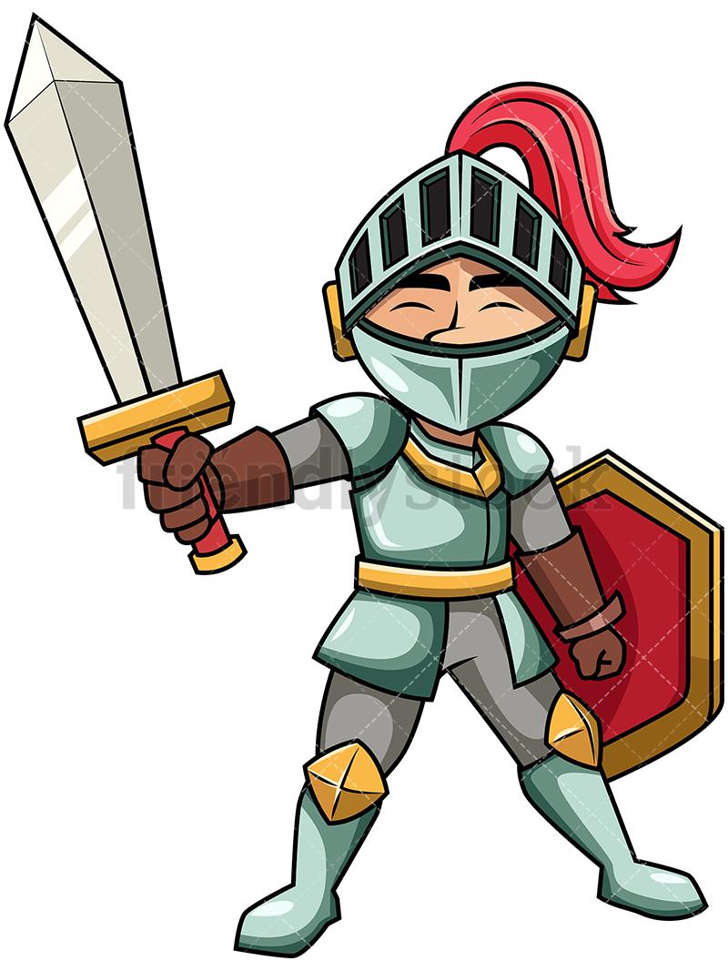 800x1067 Victorious Knight Raising Sword Cartoon Vector Clipart