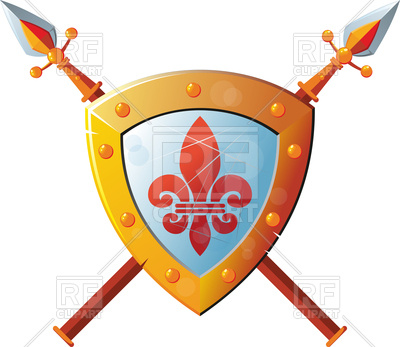 400x347 Beautiful Knight Shield With Two Crossed Spears Royalty Free