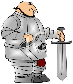 305x350 Cartoon Of A Fat Knight Holding A Sword And His Helmet