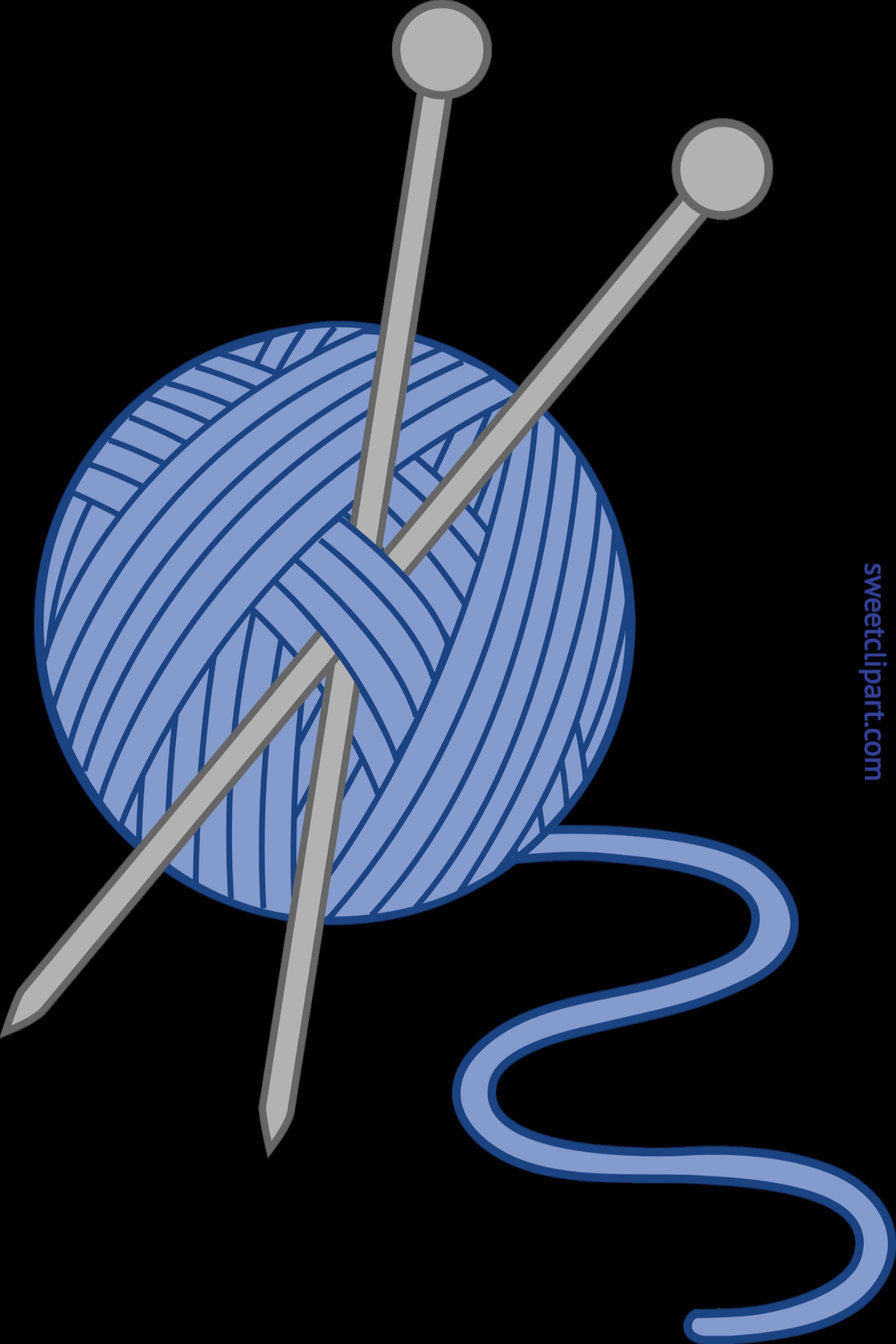 3206x4809 Knitting Yarn Needles Blue Clip Art