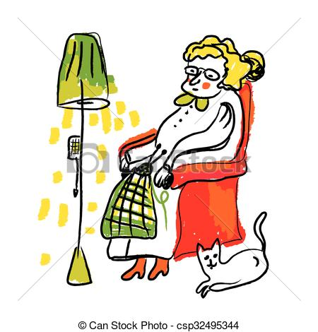 450x470 Old Lady Knitting Illustrations And Clip Art. 92 Old Lady Knitting