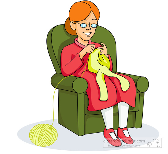 550x504 Old Lady Knitting