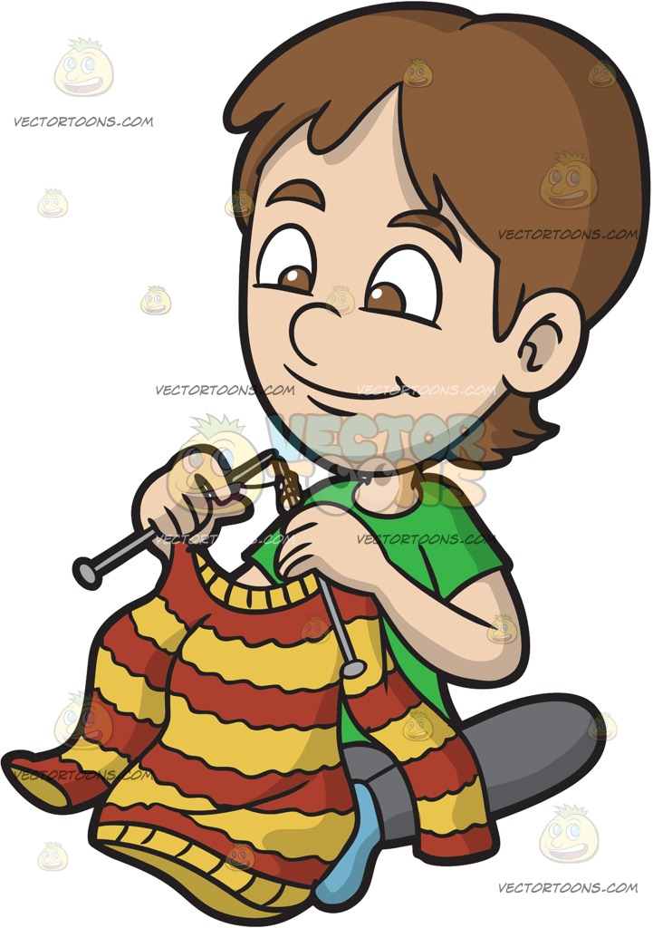 721x1024 A Boy Knitting His Own Sweater Cartoon Clipart Vector Toons