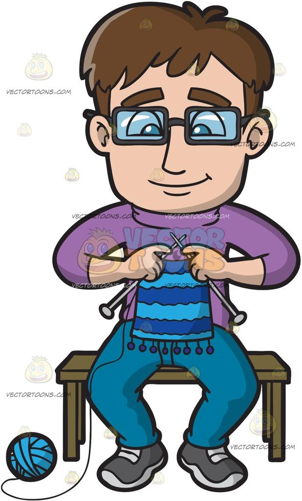 619x1024 A Smart Guy Knitting A Scarf Cartoon Clipart Vector Toons