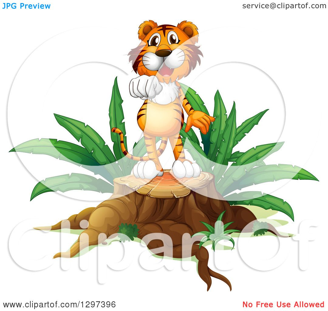 1080x1024 Clipart Of A Tiger Standing On A Tree Stump And Holding Out