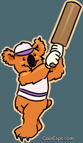 280x480 Kuala Bear Playing Cricket Royalty Free Vector Clip Art