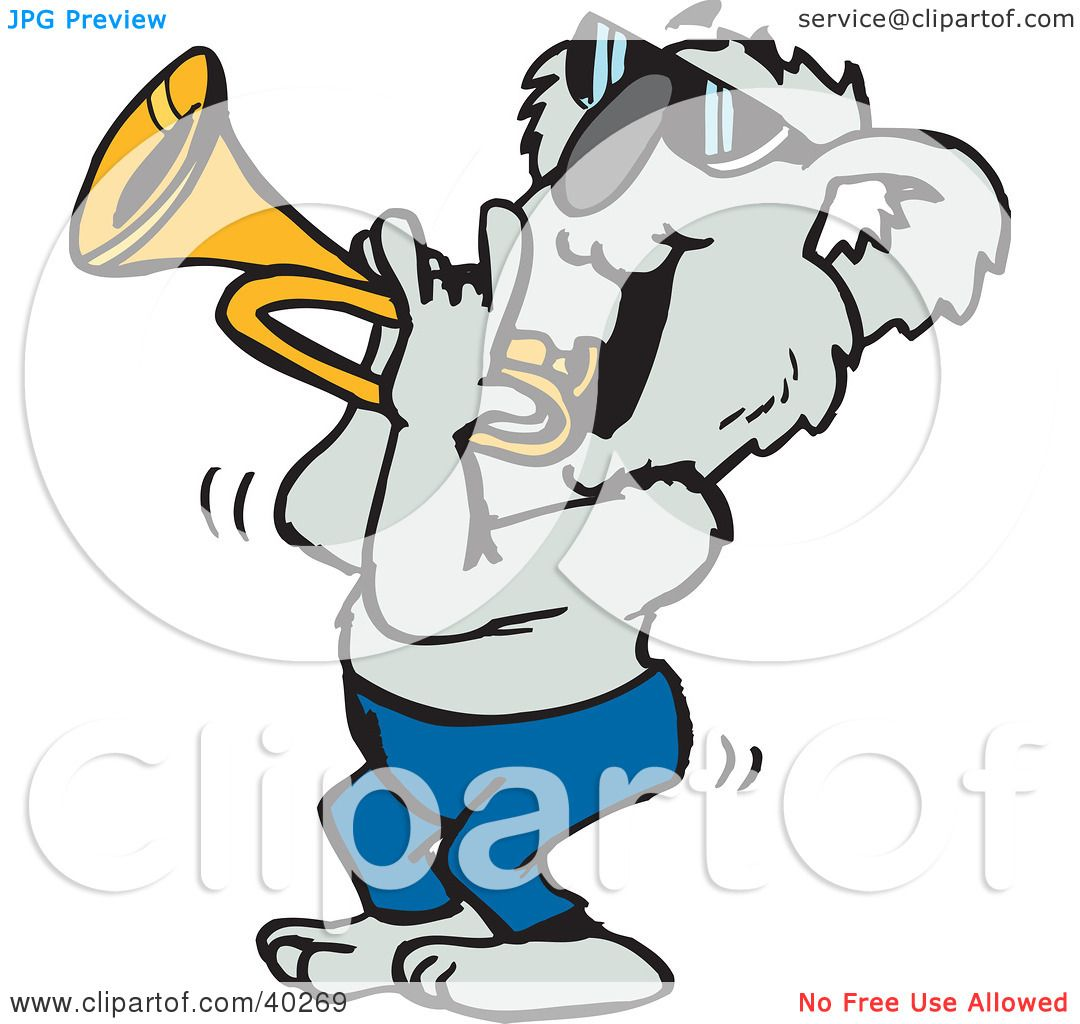 1080x1024 Clipart Illustration Of A Koala Musician Playing A Trumpet By