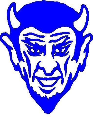382x491 Blue Devils Logo Stencil Outline Version Clipart
