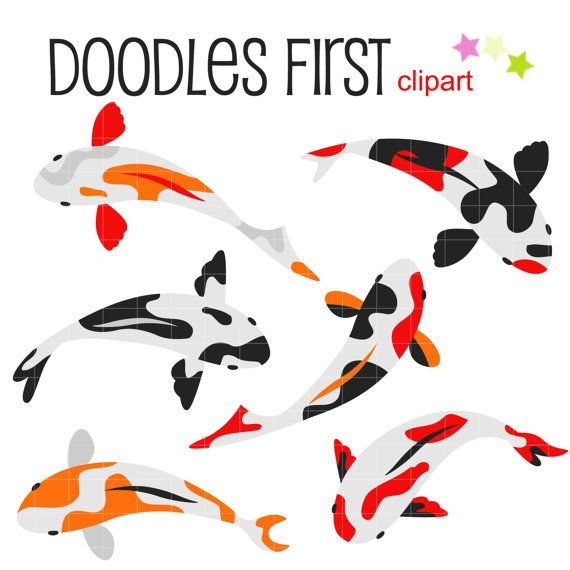570x570 Lucky Koi Fish Digital Clip Art For Scrapbooking Card Making
