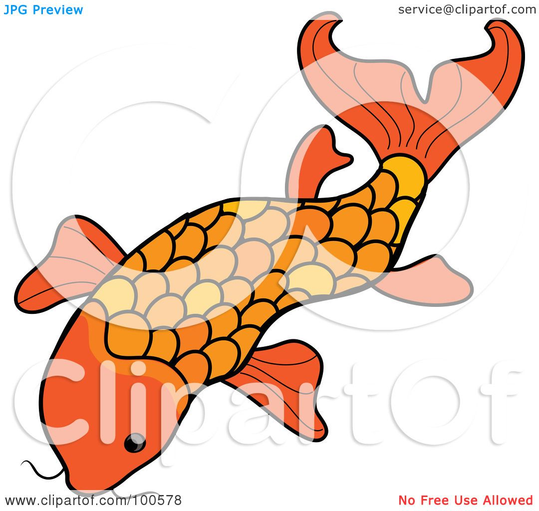 1080x1024 Royalty Free (Rf) Clipart Illustration Of An Orange Swimming Koi